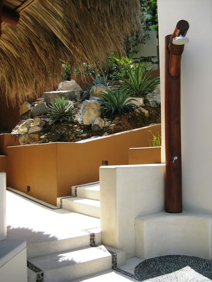 Relax and refresh at our outdoor pool shower before taking a dip at Solana B&B in Zihuatanejo!