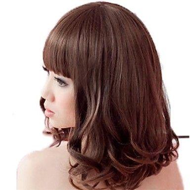 Fashion Hair Midden lang krullend synthetische volledige Bang Pruiken 3 kleuren beschikbaar – EUR € 16.49