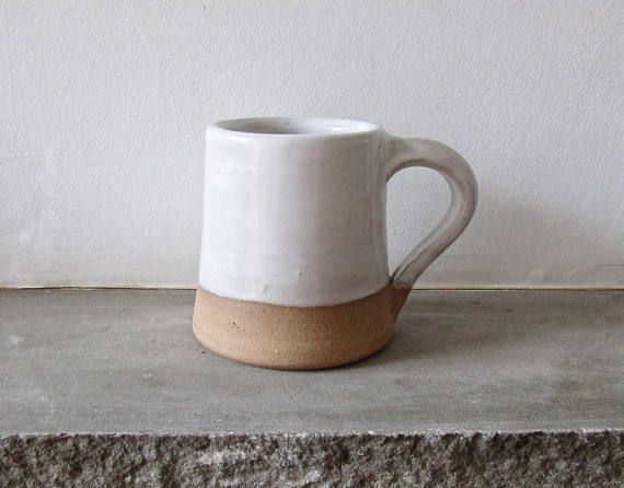White Medium Sized Stoneware Mug  Pottery  Decor  Ceramics