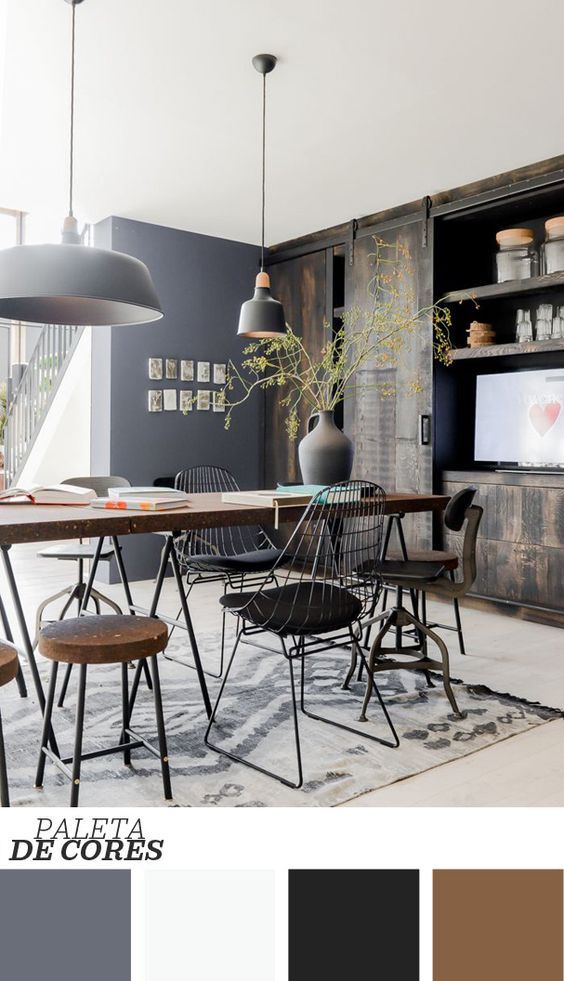 Decor cadeiras diferentes na sala de jantar for Casa minimalista industrial