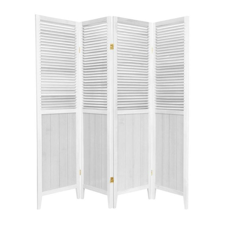 Oriental Furniture Beadboard 4-Panel White Wood Folding Indoor Privacy Screen
