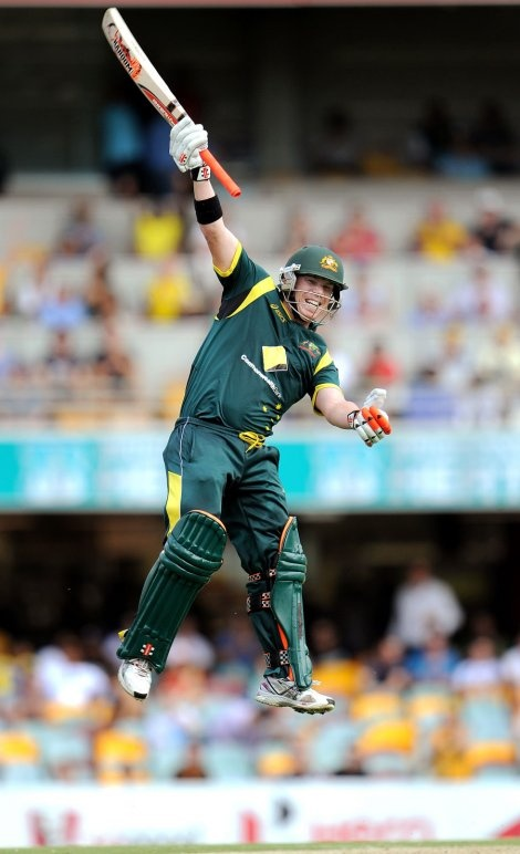 Dave Warner makes his first ODI century and gets a bit excited about it all.