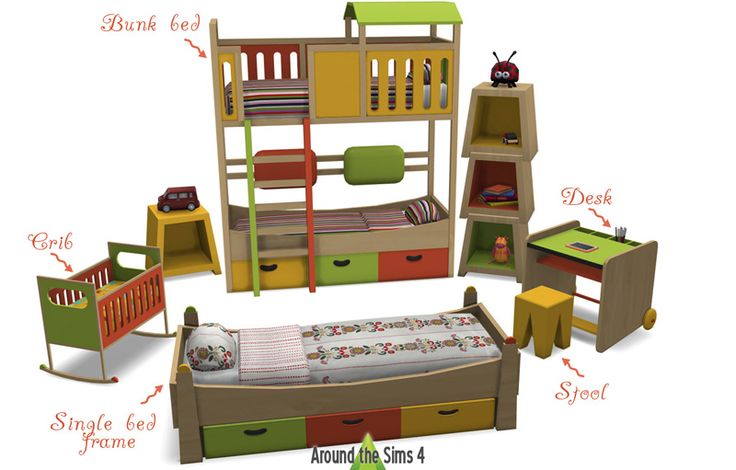 Around the Sims 4   Custom Content Download   Tam-Tam kid bedroom with loft and bunk beds