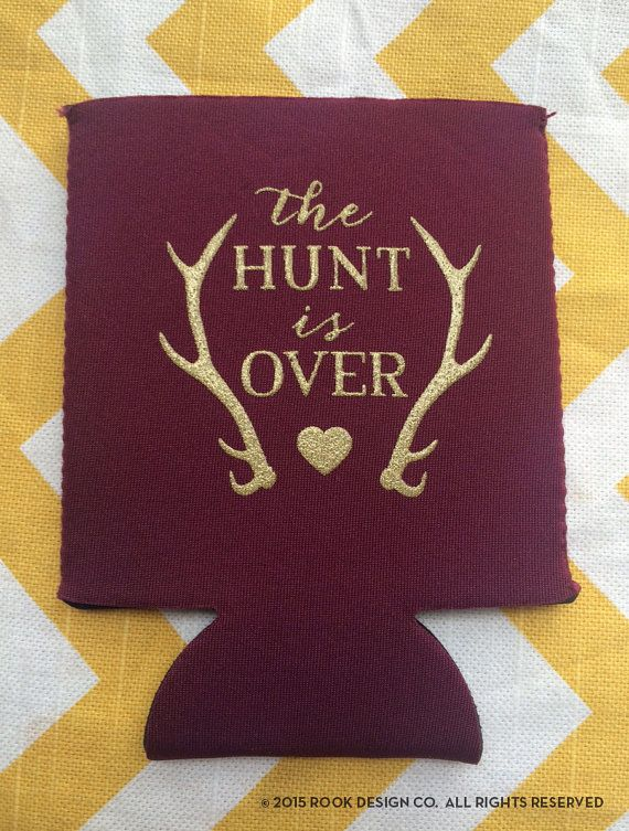 Antler wedding koozies The Hunt is Over Fancy wedding koozies, Hunting theme wedding, by RookDesignCo $84.00