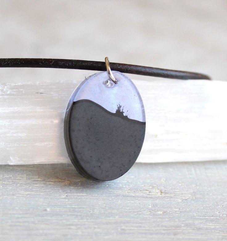 Violet and black concrete / cement oval necklace