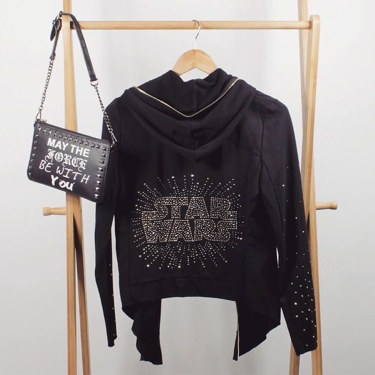 Women's Star Wars hoodie with gold rhinestone details and May The Force Be With You studded punk chic purse ⭐️The Kessel Runway ⭐️ Star Wars fashion ⭐️ Geek Fashion ⭐️ Star Wars Style ⭐️ Geek Chic ⭐️