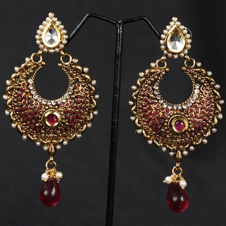 Maroon Royal Pearl Polki Earrings 60 - Online Shopping for Earrings by Prakruthi-Jewellery-Prakruthifashion