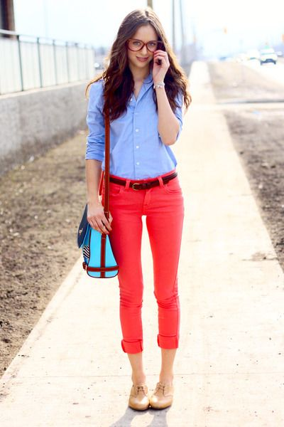 Classic red jeans, button-up, and oxfords