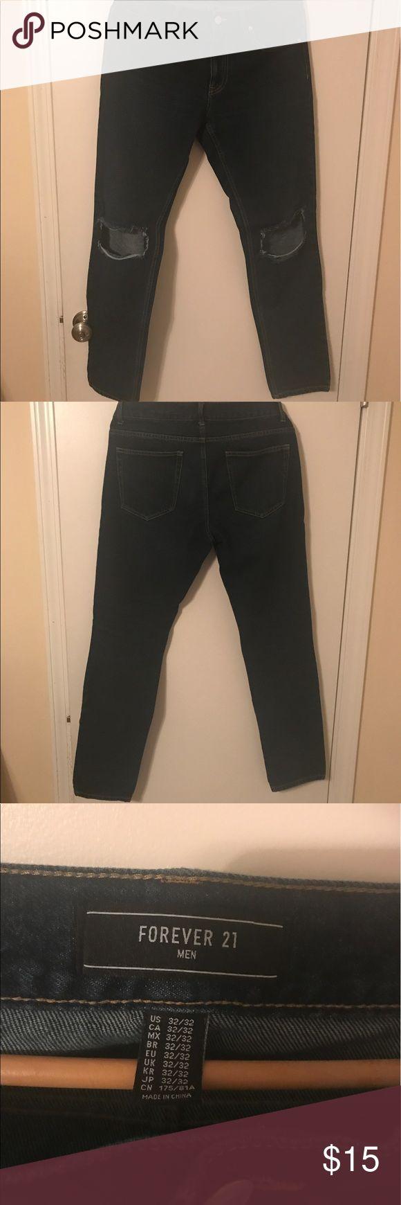 Forever 21 men's distressed skinny jeans Men's Forever 21 distressed skinny jeans. Size 32 but since they're forever 21 they run small. Forever 21 Jeans Skinny