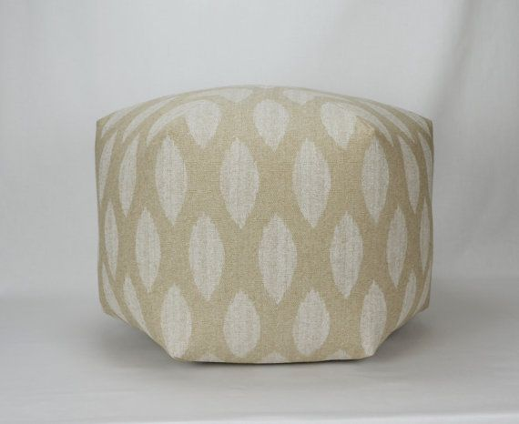 25 inch floor ottoman pouf pillow in cloud denton beige taupe natural ivory premier prints. Black Bedroom Furniture Sets. Home Design Ideas