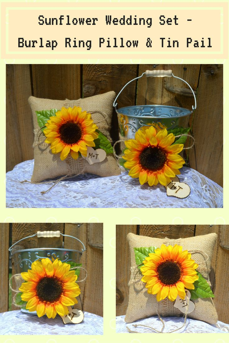 Add a special touch to your Sunflower wedding theme with our Sunflower Burlap Ring Pillow and Flower Girl Basket. With a Personalized Wood Heart featuring your initials or wedding date, this perfect.