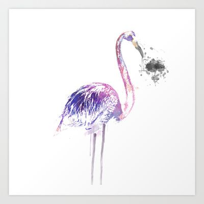 Flamingo Art Print by The Bearded Bird. - $14.00