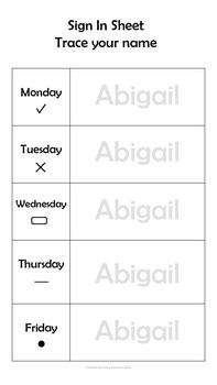 Editable weekly sign in sheets. You can start the year with tracing names and move onto writing names as the months progress. Each day has a symbol to help the children know where to sign if they are not yet familiar with the days of the week.