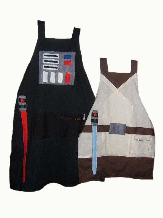 So if we ever have a little boy this is somethign we'll need!! lolStar Wars Daddy and Me Apron Set by bellalise on Etsy, $45.00