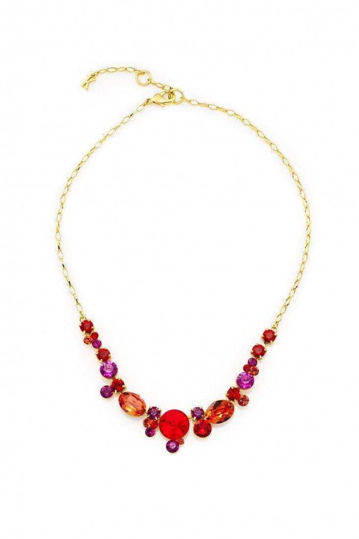 Pełen energii naszyjnik Red Hot pozłacany 24-karatowym złotem i ozdabiany kryształami Swarovski Crystals w przyciągających wzrok odcieniach czerwieni.