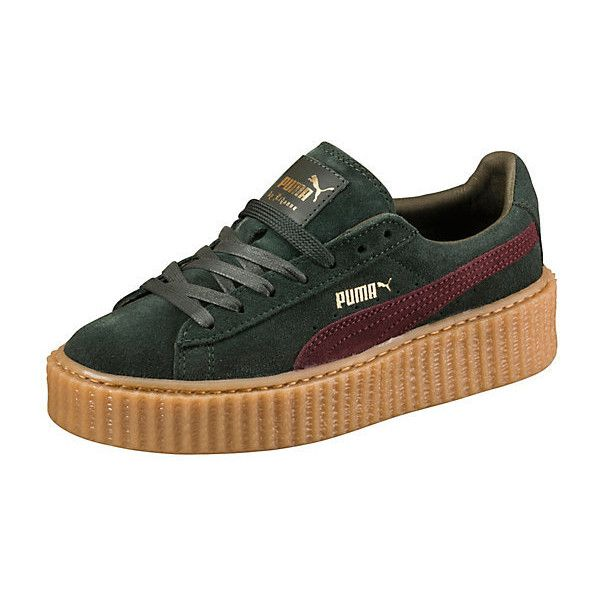 Puma PUMA BY RIHANNA MEN'S GREEN-BORDEAUX CREEPER ($140) ❤ liked on Polyvore featuring shoes, green shoes, punk shoes, laced shoes, platform shoes and punk platform shoes