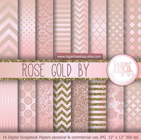 Rose Gold antique gold Digital Paper pink Background Chevron Polka dots hearts Quatrefoil Scrapbooking Blog invitations thank you cards