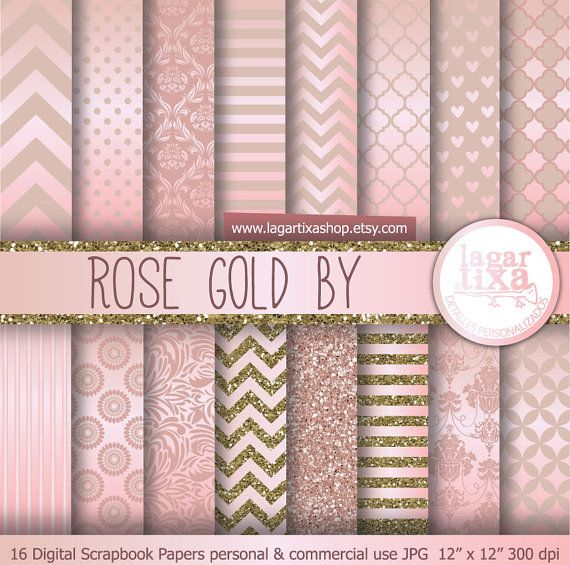 Rose Gold antique gold Digital Paper pink Background Chevron Polka dots hearts Quatrefoil Scrapbooking Blog invitations thank you cards