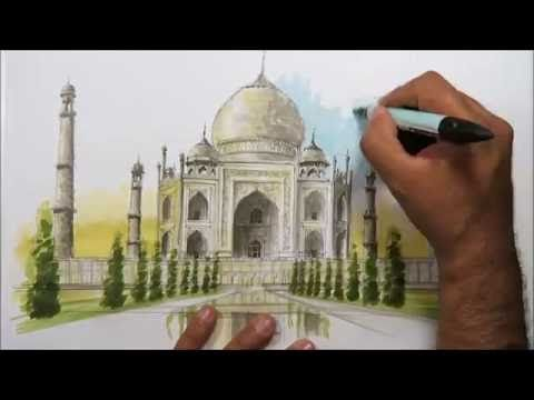 architectural sketching taj mahal youtube