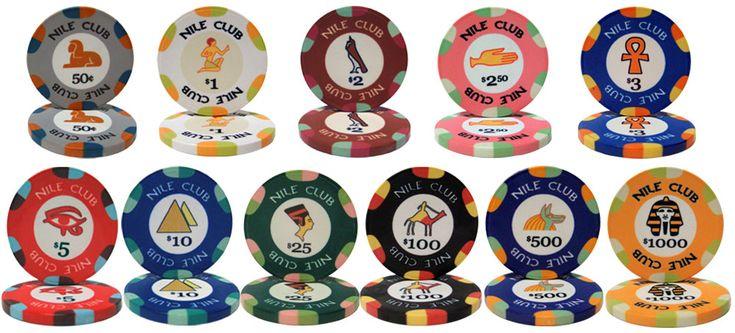 Nile Club 10 gram ceramic Poker Chips.