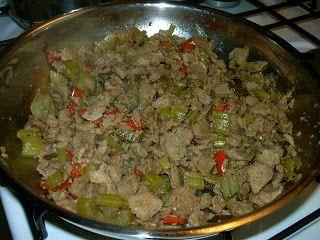Carne de soya con pimentón