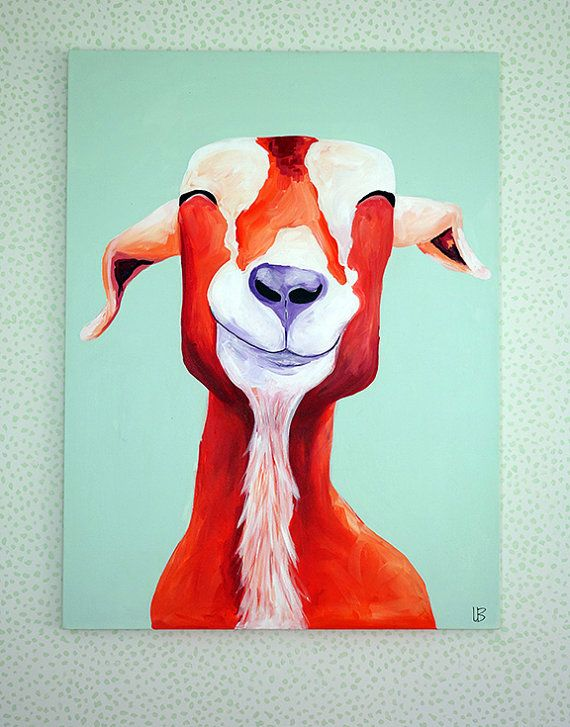 Love his paintings! Think they'd be so cute in a nursery. Goat Painting Happy Goat Goat Art 30x40 Painting by LoganBerard