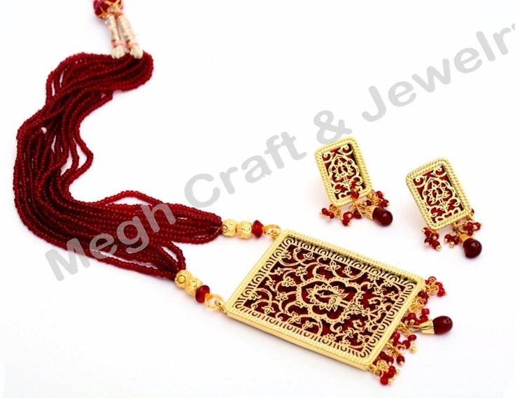 Indian Thewa Jewellery - Bollywood style Pearl beaded Necklace set  For Wholesale Visit@ www.indianethnicjewelry.com