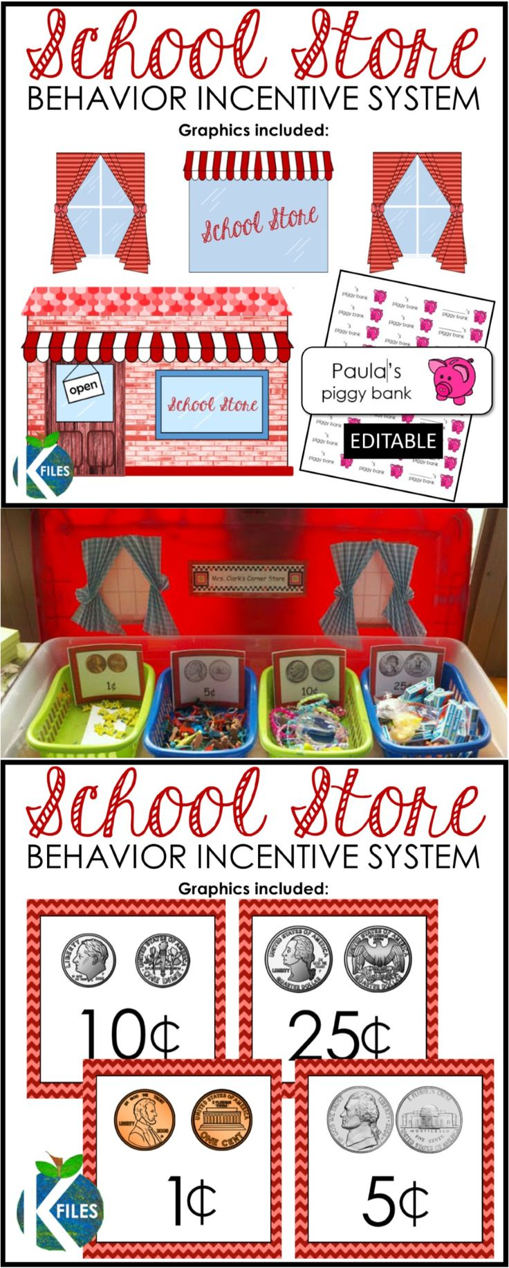 School Store Behavior Incentive System using play coins and student piggy banks.  Students learn the value of coins in addition to a classroom behavior management system.