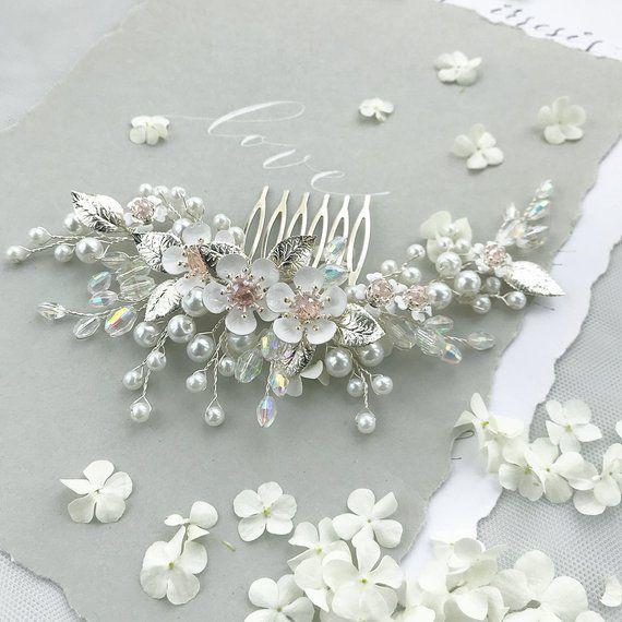 Crystal Flower Hair Comb, Bridal Hair Piece, Floral Pearl Comb Crystal Wedding Hair Clip Bridal Hair Accessory Trends 2019