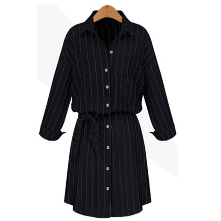 Charlee Cooper Striped Button Up Belted Shirt Dress