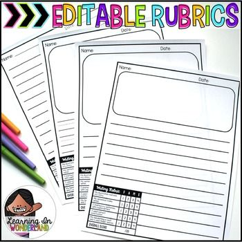 This file has been updated to include more templates. You will now find my original design, a template with a larger picture, and a whole extra file that includes 3 column rubrics. Each design comes with rubrics with 5, 6, and 7 rows.