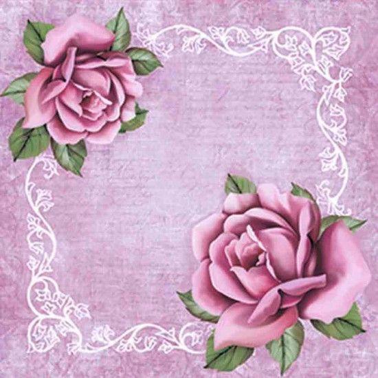 Papel Scrap Decor Folha Simples 15x15 Flores com Arabesco SDSXV-053 - Litoarte - PalacioDaArte