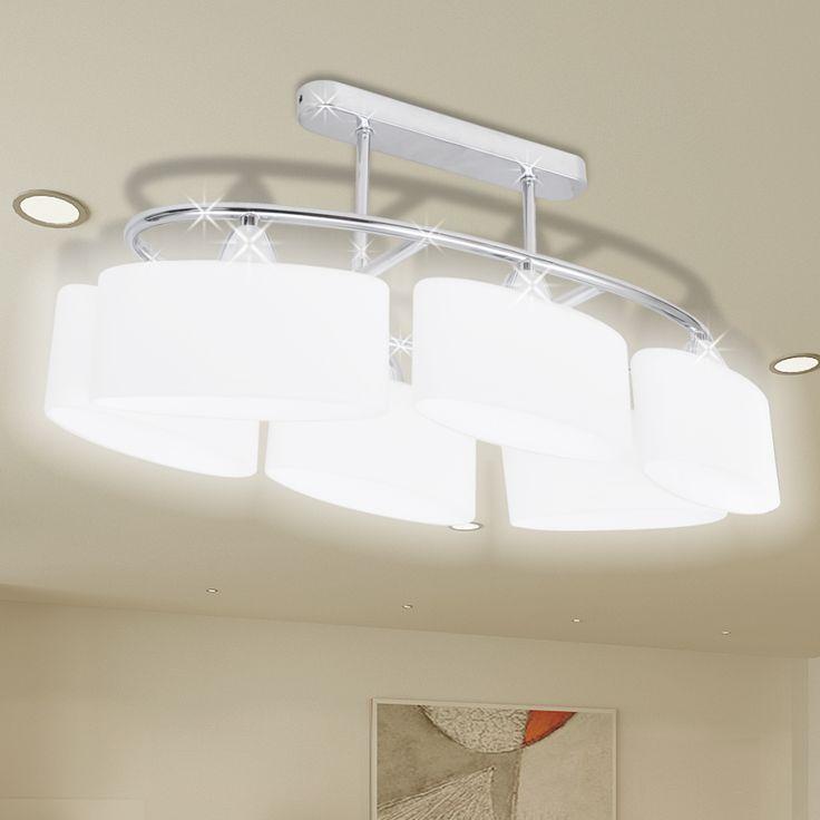 vidaXL Ceiling Lamp with Ellipsoid Glass Shades for 6 E14 Bulbs