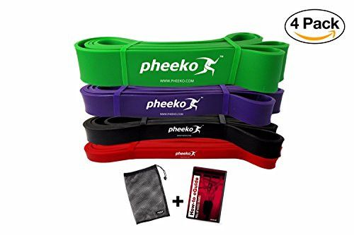 Pull Up Assist Bands Set or Single Pull Up Band by Pheeko. Resistance Bands Crossfit / Powerlifting Bands / Crossfit Exercise Bands / Assistance Bands / Fitness Pull Ups Bands. Includes How-to eGuide