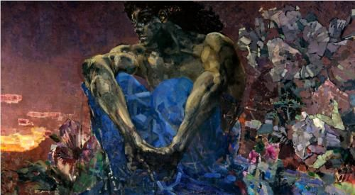 Seated Demon - Mikhail Vrubel, Russian (1857-1910), Symbolism