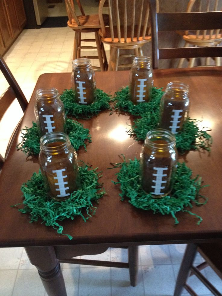 Grad party football centerpieces: Football Banquet Centerpieces, Birthday Parties, Football Tables Centerpieces, Grad Parties, Football Birthday Centerpieces, Football Parties Centerpieces, Centerpieces Football Banquet, Football Centerpieces Ideas, Easy Football Centerpieces