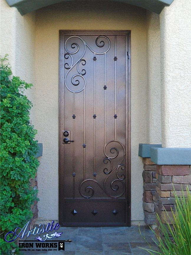 Wrought Iron Security Screen Door with Scroll Work and Kick Plate - SD0276