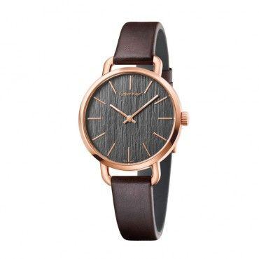 K7B236G3 Γυναικείο ελβετικό ρολόι CALVIN KLEIN Even με λουράκι από καφέ δέρμα και μαύρο ριγέ καντράν | Ρολόγια CK ΤΣΑΛΔΑΡΗΣ στο Χαλάνδρι #Calvin #Klein #even #δερμα #ρολοι