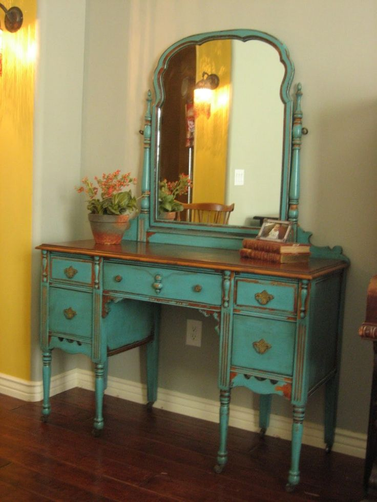 Furniture. distressed wooden make up table in blue finish having curved mirror and several drawers plus 8 turned legs on brown teak wood floor. Antique Makeup Vanity Bring Romantic Nuance At your Room