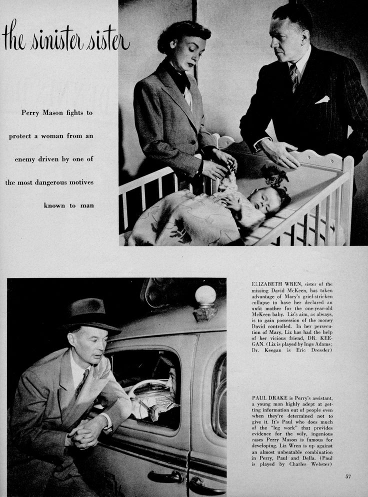 Perry Mason Radio Show.  Inge Adams as Liz Wren, Eric Dressler as Dr. Keegan, Charles Webster as Paul Drake.  From Radio Mirror, July 1948.  Webster originated the role of Sgt. Brice in two episodes of the Perry Mason TV show before Lee Miller took it over.  From the Jim Davidson Collection.