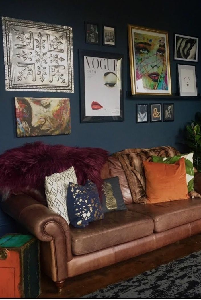 Dark Blue Walls What S Not To Love Brown Leather Sofa
