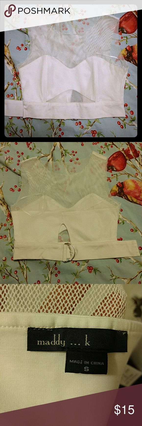 Crop top, Maddy...k, size small Excellent shape mesh crop top with adjustable back. Love it, just a tad too big for me. I'm typically a 34 b bra size for reference. maddy...k Tops Crop Tops