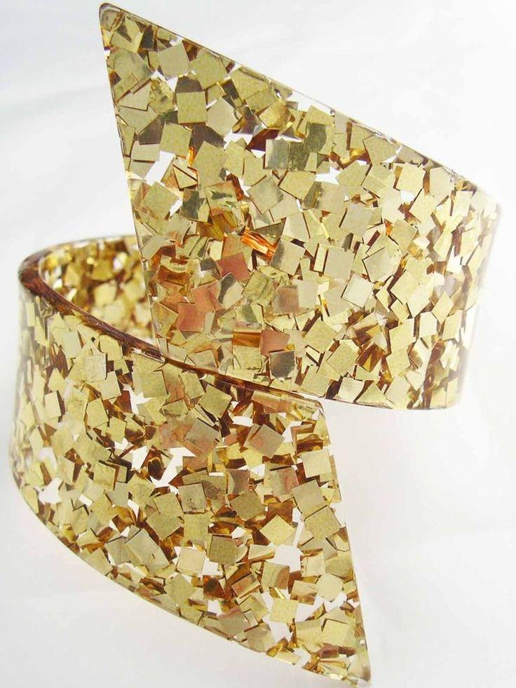 Glitzy Vintage Lucite GOLD Confetti BY PASS Clamper Bracelet  #Statement