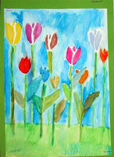 Kids Artists: Tulips; spring is coming 3/4/5th
