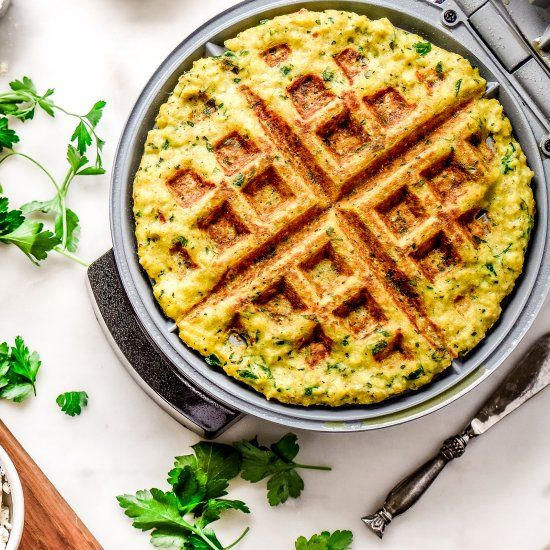 If you love falafel then you'll adore this falafel waffle! The recipe includes a tradition chickpea base AND a low carb cauliflower option!