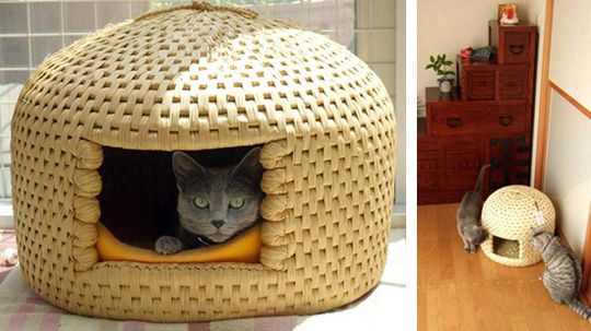 traditional Japanese cat bed known as neko chigura.  based on a design for an infant cradle, each neko chigura is handcrafted using rice straw, which keeps kitty warm in the winter and cool in the summer.