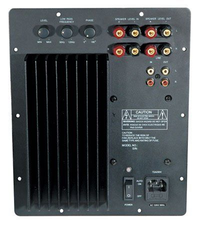 MCM Audio Select 50-6263 200 Watt Subwoofer Amplifier Module by MCM. $117.42. 200 Watt Subwoofer Amplifier Module Perfect for any moderate to high powered home theater application, this amplifier offers an unbelievable 200W RMS for a great price. It is ideal for repair or upgrade of existing systems, or new sub woofer designs.  Speaker level and line level inputs and outputs Fully adjustable 12dB/octave crossover from 50Hz ~ 120Hz Continuously adjustable phase adjustment from 0°...
