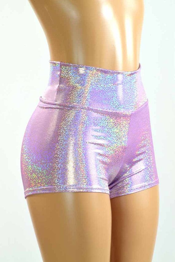 Hoge taille Lila paars holografische Metallic Spandex Shorts Festival Rave Clubwear 150951