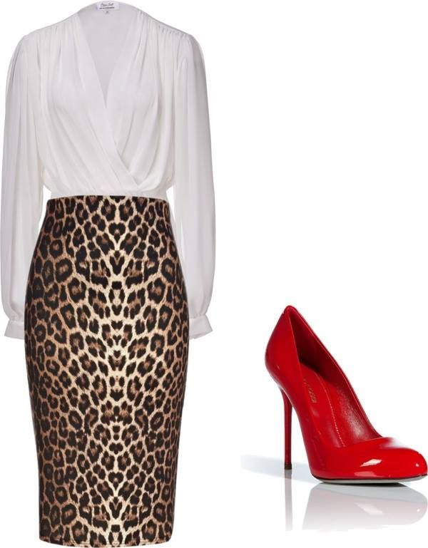 Great look for a contemporary office leopard pencil skirt crisp white blouse and red stilettos
