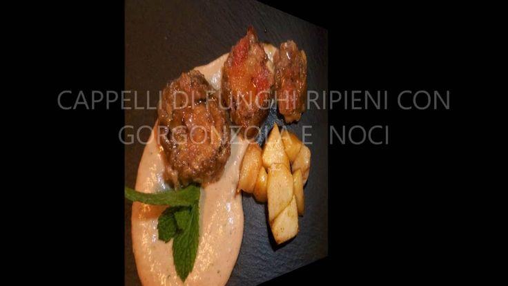 Cappelli di funghi ripieni con gorgonzola e noci